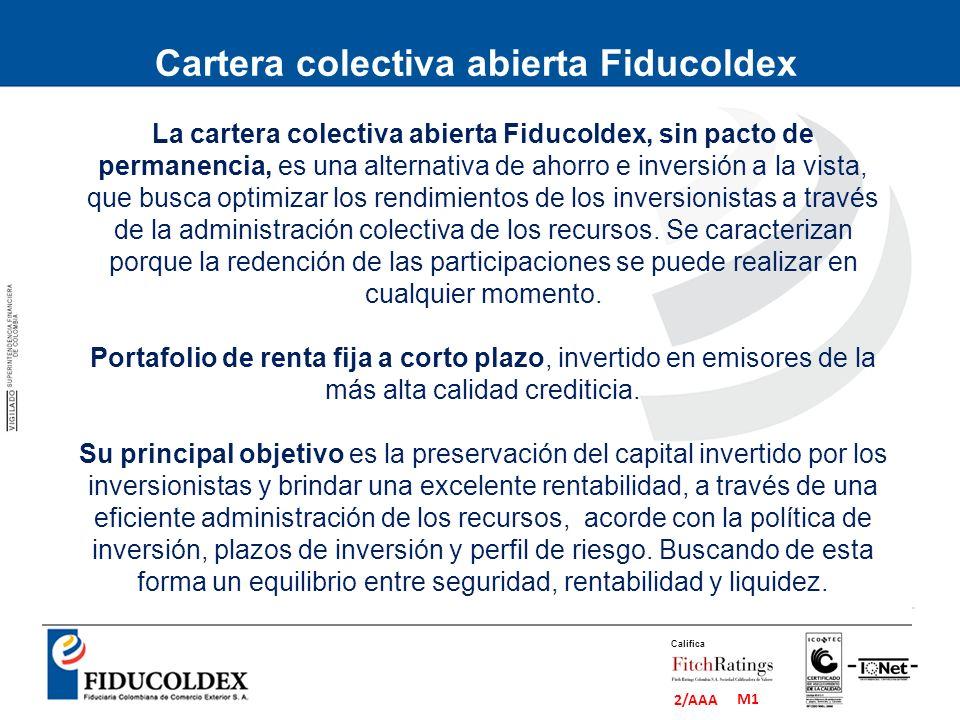 M1 2/AAA Califica La cartera colectiva abierta Fiducoldex, sin pacto de permanencia, es una alternativa de ahorro e inversión a la vista, que busca op