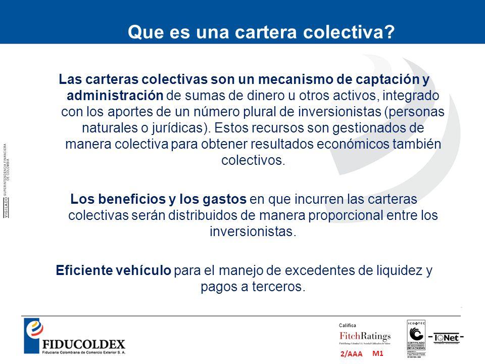 M1 2/AAA Califica Clasificación de Carteras Colectivas según el plazo de redención de participaciones: Abiertas: A la vista o con pactos de permanencia mínima y penalidades.