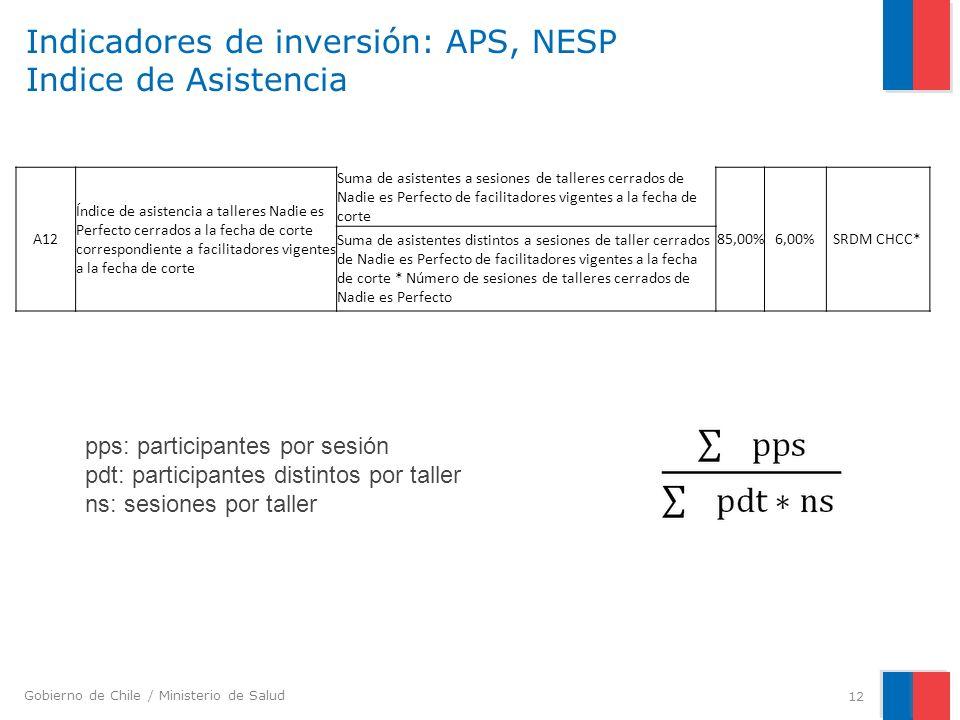 Gobierno de Chile / Ministerio de Salud Indicadores de inversión: APS, NESP Indice de Asistencia 12 A12 Índice de asistencia a talleres Nadie es Perfe