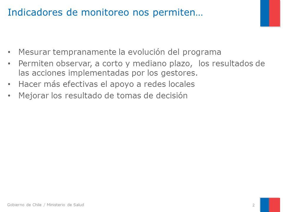 Gobierno de Chile / Ministerio de Salud Indicadores de monitoreo nos permiten… Mesurar tempranamente la evolución del programa Permiten observar, a co