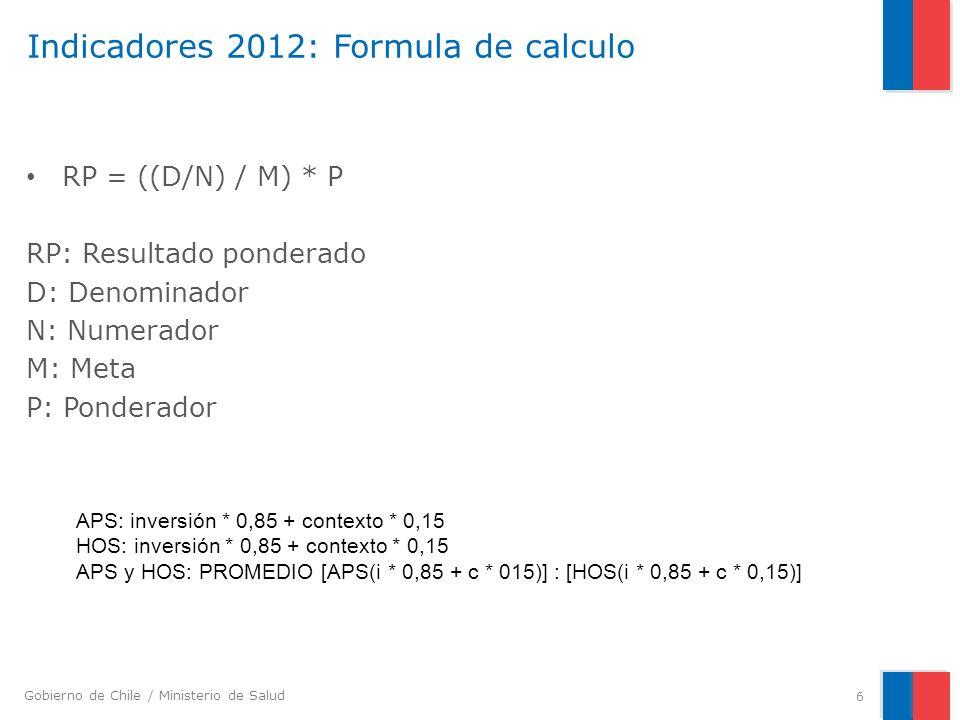 Gobierno de Chile / Ministerio de Salud Indicadores 2012: Formula de calculo RP = ((D/N) / M) * P RP: Resultado ponderado D: Denominador N: Numerador