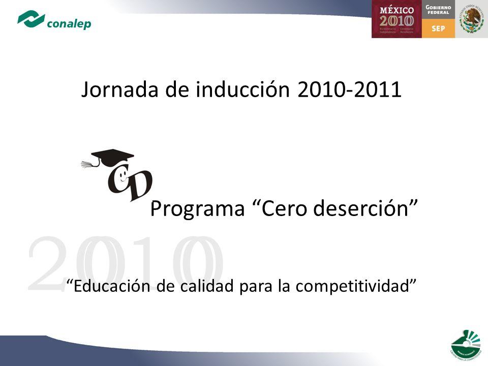 Programa Cero deserción 20100 Jornada de inducción 2010-2011 Educación de calidad para la competitividad