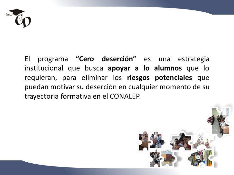 El programa Cero deserción es una estrategia institucional que busca apoyar a lo alumnos que lo requieran, para eliminar los riesgos potenciales que p