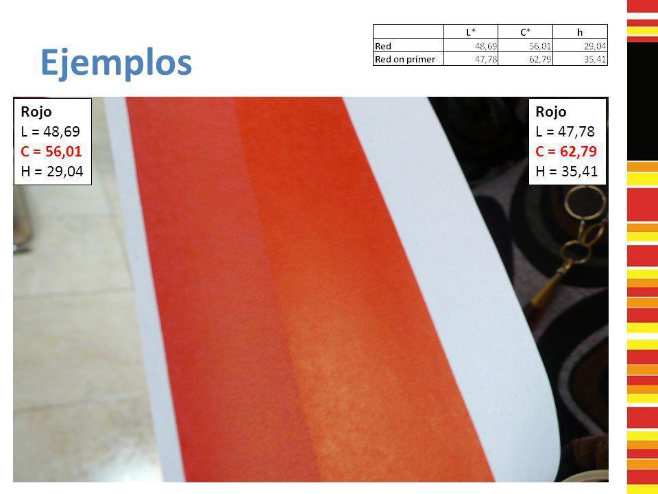Ejemplos Rojo L = 48,69 C = 56,01 H = 29,04 Rojo L = 47,78 C = 62,79 H = 35,41