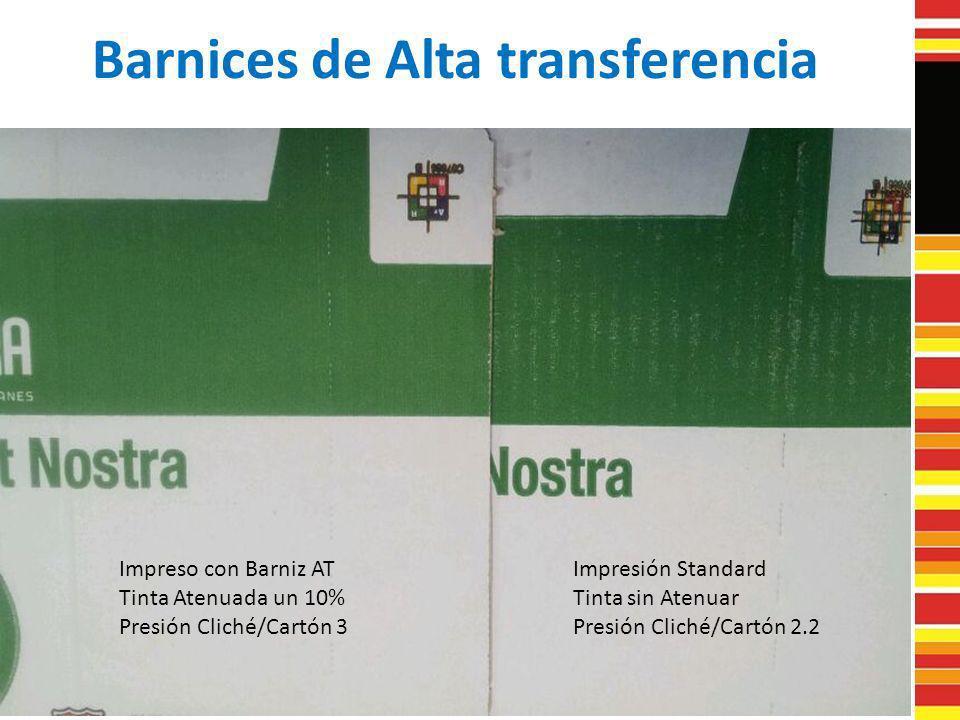 Barnices de Alta transferencia Impreso con Barniz AT Tinta Atenuada un 10% Presión Cliché/Cartón 3 Impresión Standard Tinta sin Atenuar Presión Cliché