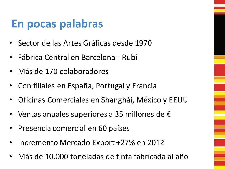 En pocas palabras Sector de las Artes Gráficas desde 1970 Fábrica Central en Barcelona - Rubí Más de 170 colaboradores Con filiales en España, Portuga