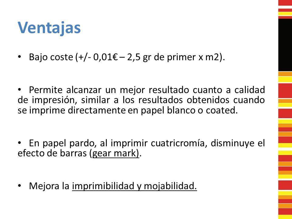 Ventajas Bajo coste (+/- 0,01 – 2,5 gr de primer x m2). Permite alcanzar un mejor resultado cuanto a calidad de impresión, similar a los resultados ob