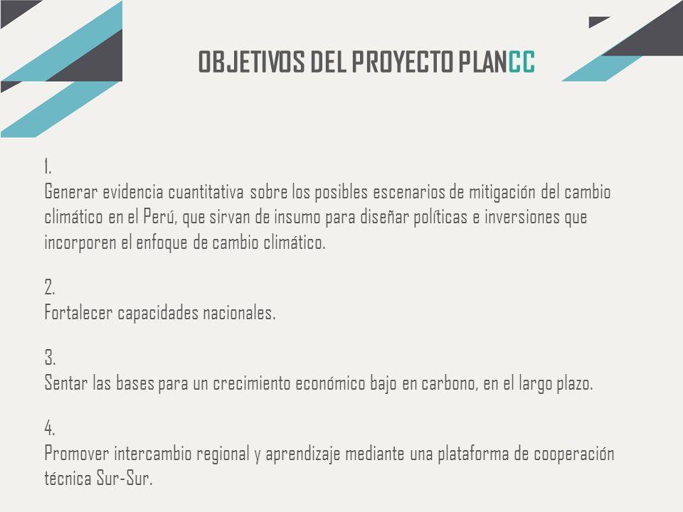 OBJETIVOS DEL PROYECTO PLANCC 1. Generar evidencia cuantitativa sobre los posibles escenarios de mitigación del cambio climático en el Perú, que sirva