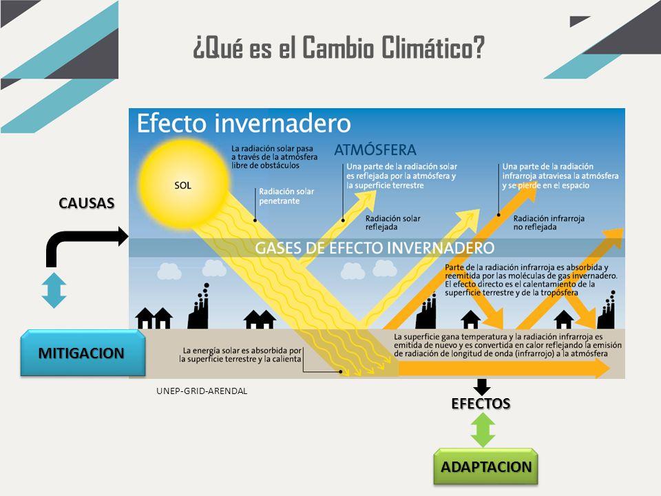 EFECTOS CAUSAS ADAPTACION MITIGACION UNEP-GRID-ARENDAL ¿Qué es el Cambio Climático?