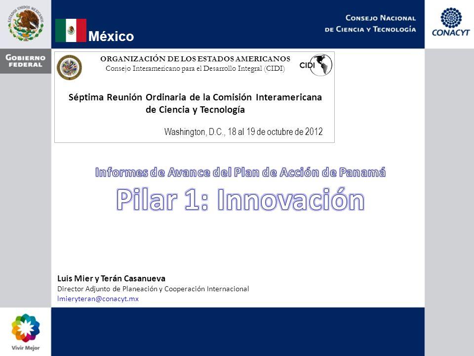 Avance Existe consenso en el grupo sobre la mayoría de los indicadores Algunos otros están diseñados para circunstancias particulares de México (# Centros CONACYT, Secretarías de Estado, etc.) pero pueden homologarse conceptualmente a nivel de la región.