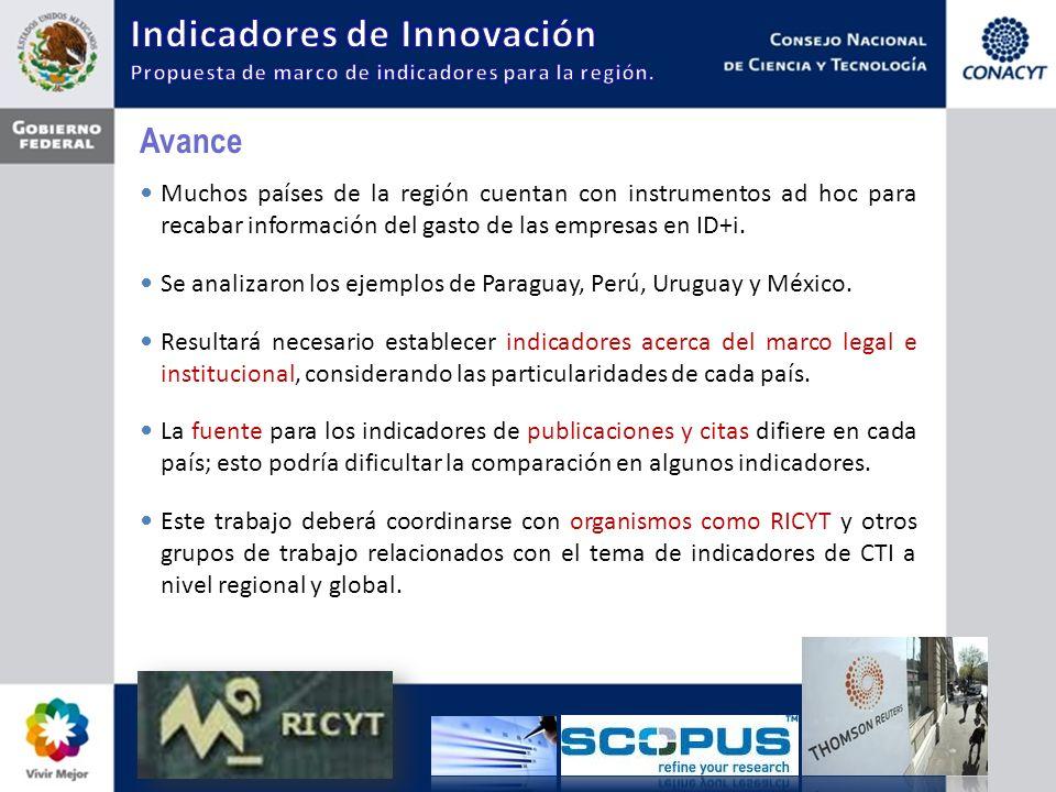 Avance Muchos países de la región cuentan con instrumentos ad hoc para recabar información del gasto de las empresas en ID+i.