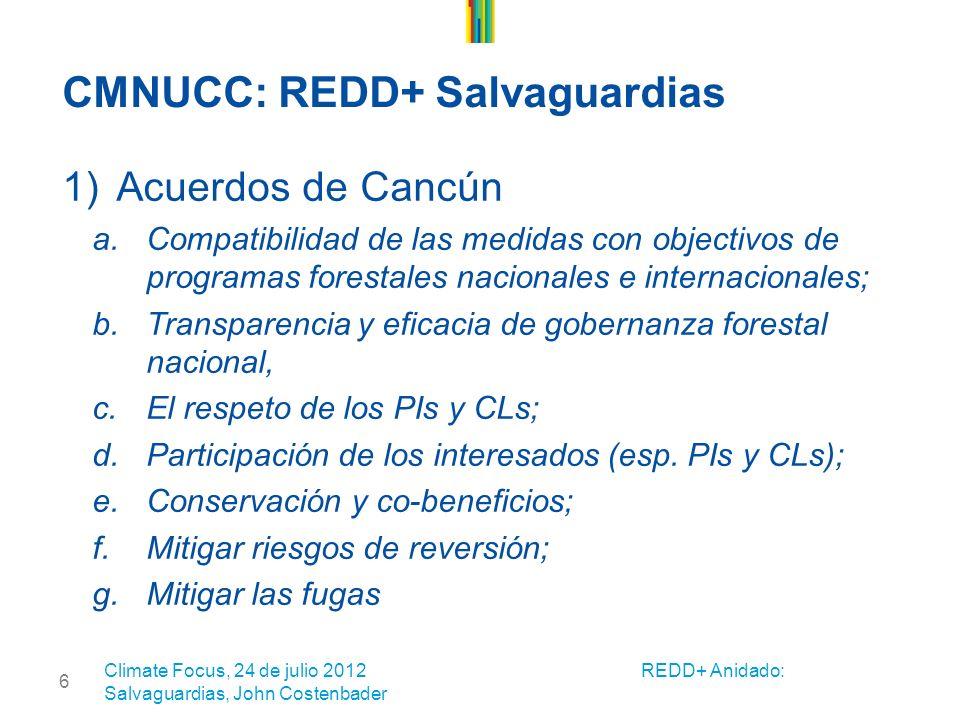6 CMNUCC: REDD+ Salvaguardias 1)Acuerdos de Cancún a.Compatibilidad de las medidas con objectivos de programas forestales nacionales e internacionales; b.Transparencia y eficacia de gobernanza forestal nacional, c.El respeto de los PIs y CLs; d.Participación de los interesados (esp.