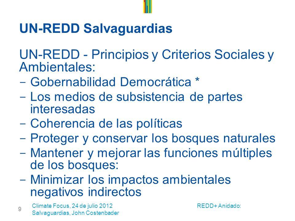 9 UN-REDD Salvaguardias UN-REDD - Principios y Criterios Sociales y Ambientales: - Gobernabilidad Democrática * - Los medios de subsistencia de partes interesadas - Coherencia de las políticas - Proteger y conservar los bosques naturales - Mantener y mejorar las funciones múltiples de los bosques: - Minimizar los impactos ambientales negativos indirectos Climate Focus, 24 de julio 2012 REDD+ Anidado: Salvaguardias, John Costenbader