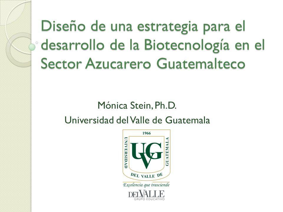 Diseño de una estrategia para el desarrollo de la Biotecnología en el Sector Azucarero Guatemalteco Mónica Stein, Ph.D. Universidad del Valle de Guate
