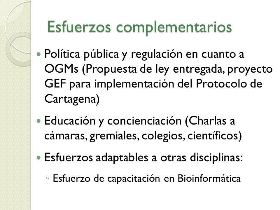 Esfuerzos complementarios Política pública y regulación en cuanto a OGMs (Propuesta de ley entregada, proyecto GEF para implementación del Protocolo d