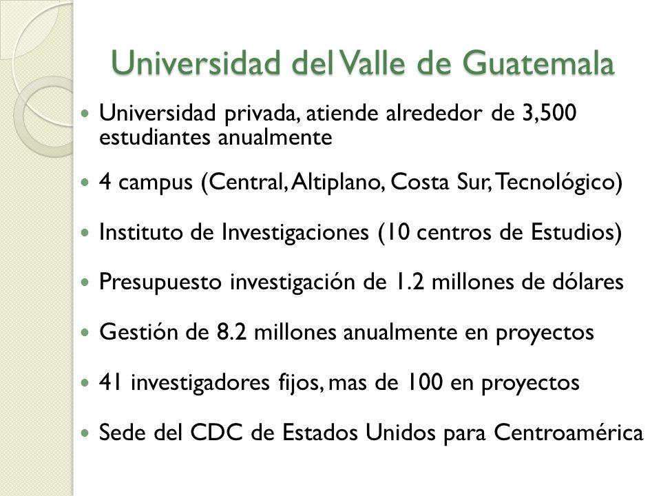 Universidad privada, atiende alrededor de 3,500 estudiantes anualmente 4 campus (Central, Altiplano, Costa Sur, Tecnológico) Instituto de Investigacio
