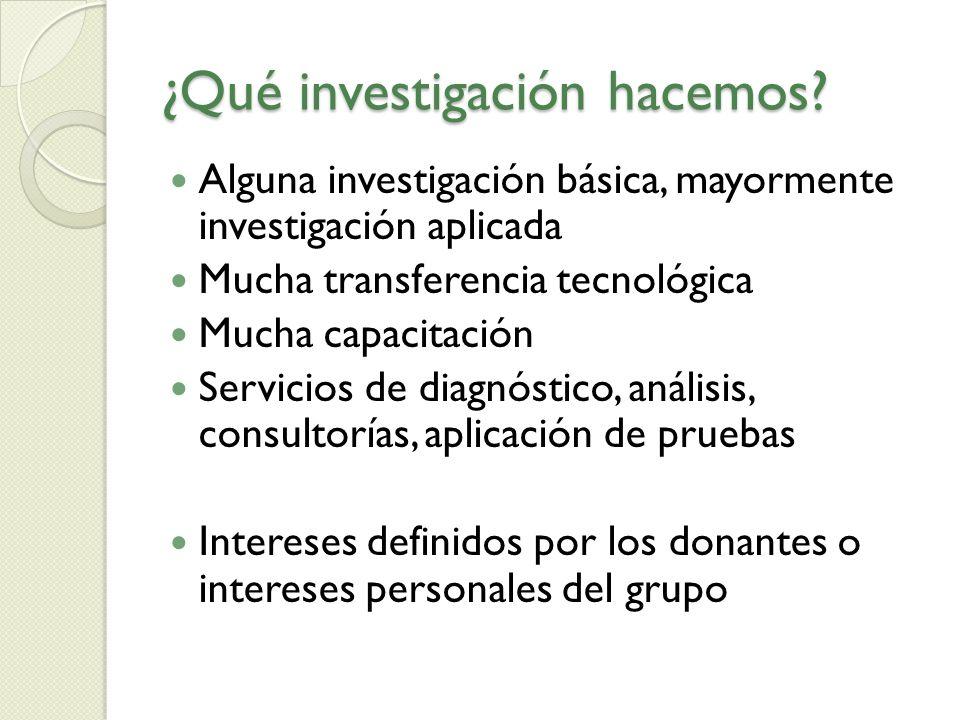 ¿Qué investigación hacemos? Alguna investigación básica, mayormente investigación aplicada Mucha transferencia tecnológica Mucha capacitación Servicio