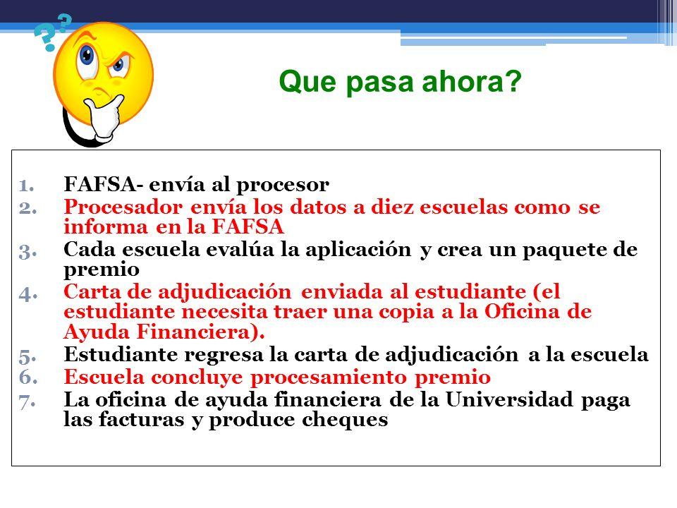 1.FAFSA- envía al procesor 2.Procesador envía los datos a diez escuelas como se informa en la FAFSA 3.Cada escuela evalúa la aplicación y crea un paqu