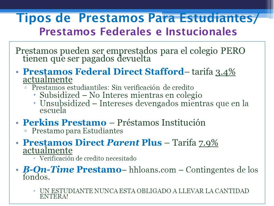 Tipos de Prestamos Para Estudiantes/ Prestamos Federales e Instucionales Prestamos pueden ser emprestados para el colegio PERO tienen que ser pagados