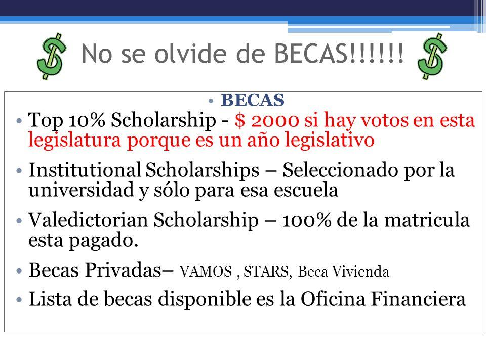 No se olvide de BECAS!!!!!! BECAS Top 10% Scholarship - $ 2000 si hay votos en esta legislatura porque es un año legislativo Institutional Scholarship