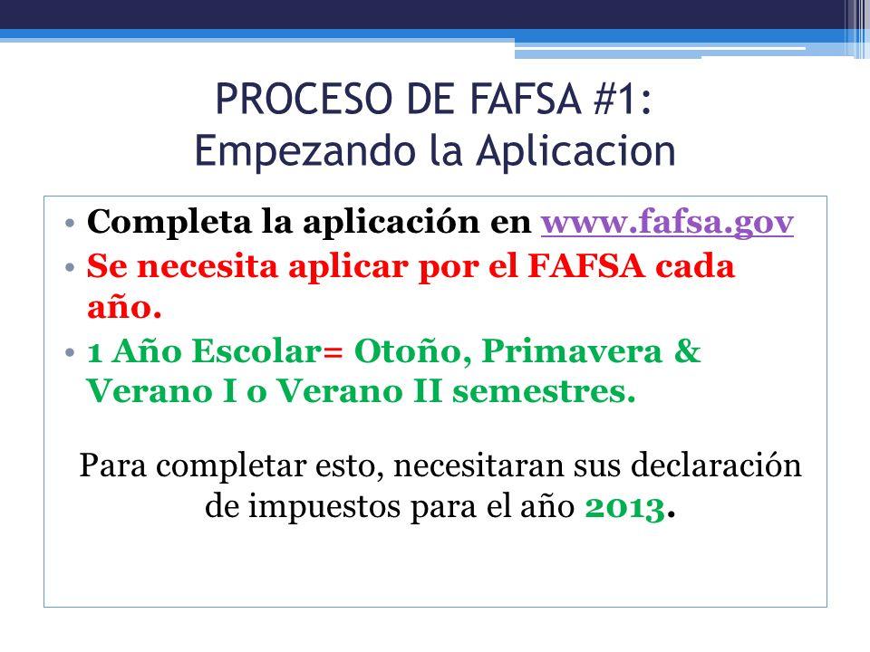 PROCESO DE FAFSA #1: Empezando la Aplicacion Completa la aplicación en www.fafsa.govwww.fafsa.gov Se necesita aplicar por el FAFSA cada año. 1 Año Esc