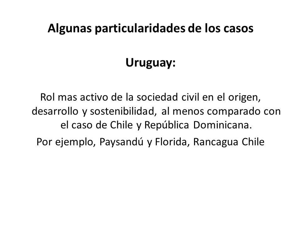 Algunas particularidades de los casos Uruguay: Rol mas activo de la sociedad civil en el origen, desarrollo y sostenibilidad, al menos comparado con e
