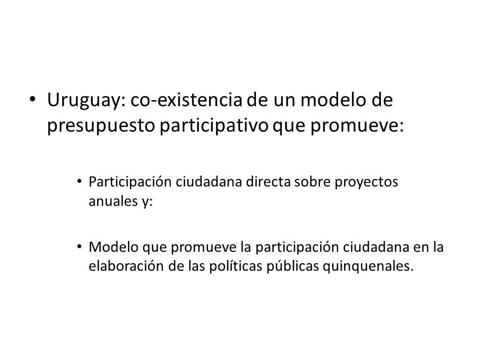 Uruguay: co-existencia de un modelo de presupuesto participativo que promueve: Participación ciudadana directa sobre proyectos anuales y: Modelo que p