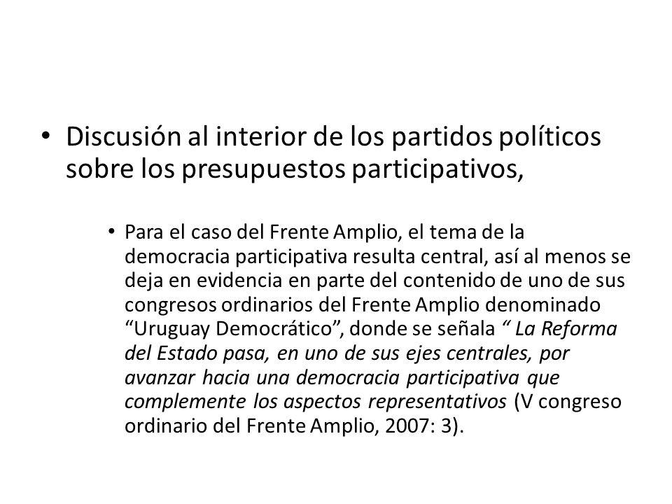 Discusión al interior de los partidos políticos sobre los presupuestos participativos, Para el caso del Frente Amplio, el tema de la democracia partic