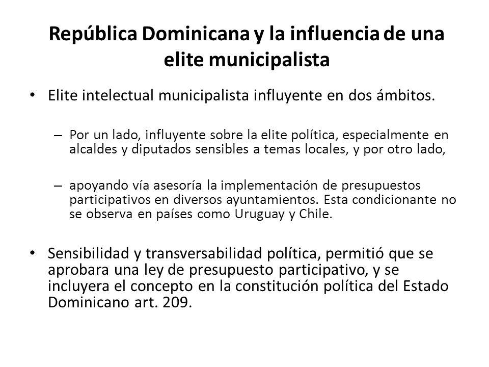 República Dominicana y la influencia de una elite municipalista Elite intelectual municipalista influyente en dos ámbitos. – Por un lado, influyente s