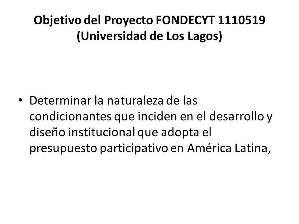 Objetivo del Proyecto FONDECYT 1110519 (Universidad de Los Lagos) Determinar la naturaleza de las condicionantes que inciden en el desarrollo y diseño
