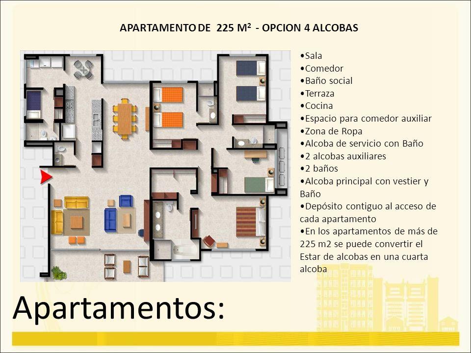 Apartamentos: Sala Comedor Baño social Terraza Cocina Espacio para comedor auxiliar Zona de Ropa Alcoba de servicio con Baño 2 alcobas auxiliares 2 ba