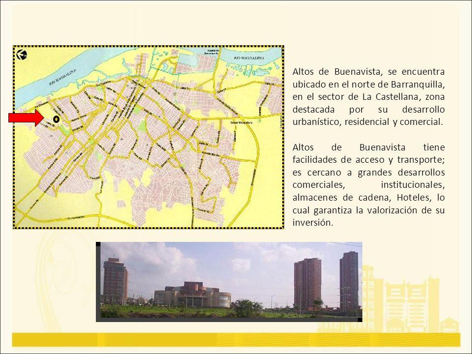 Altos de Buenavista, se encuentra ubicado en el norte de Barranquilla, en el sector de La Castellana, zona destacada por su desarrollo urbanístico, re