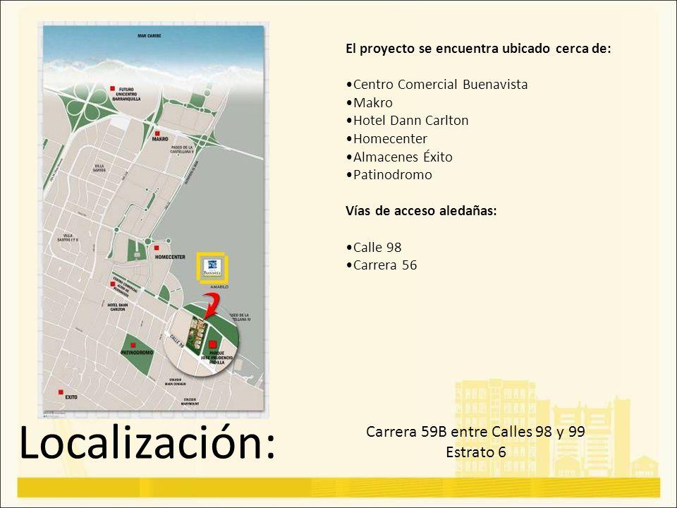 Localización: Carrera 59B entre Calles 98 y 99 Estrato 6 El proyecto se encuentra ubicado cerca de: Centro Comercial Buenavista Makro Hotel Dann Carlt
