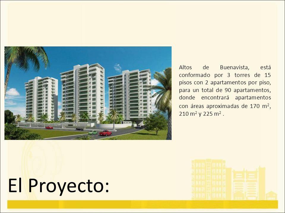El Proyecto: Altos de Buenavista, está conformado por 3 torres de 15 pisos con 2 apartamentos por piso, para un total de 90 apartamentos, donde encont