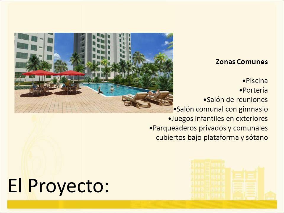El Proyecto: Zonas Comunes Piscina Portería Salón de reuniones Salón comunal con gimnasio Juegos infantiles en exteriores Parqueaderos privados y comu