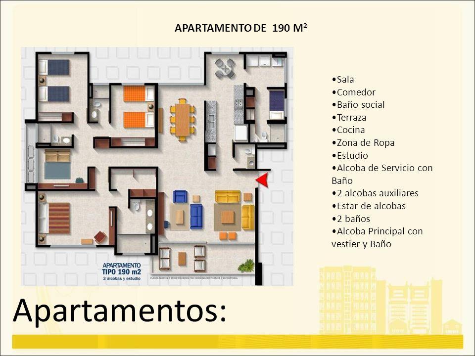 Apartamentos: APARTAMENTO DE 190 M 2 Sala Comedor Baño social Terraza Cocina Zona de Ropa Estudio Alcoba de Servicio con Baño 2 alcobas auxiliares Est