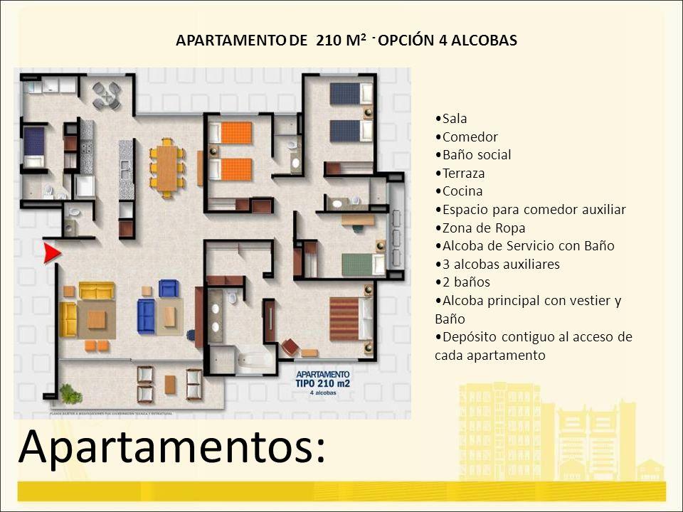 Apartamentos: APARTAMENTO DE 210 M 2 - OPCIÓN 4 ALCOBAS Sala Comedor Baño social Terraza Cocina Espacio para comedor auxiliar Zona de Ropa Alcoba de S