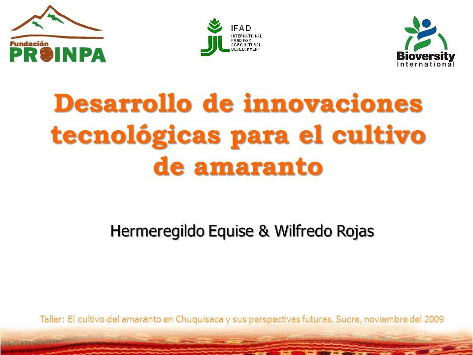 Desarrollo de innovaciones tecnológicas para el cultivo de amaranto Hermeregildo Equise & Wilfredo Rojas Taller: El cultivo del amaranto en Chuquisaca y sus perspectivas futuras.