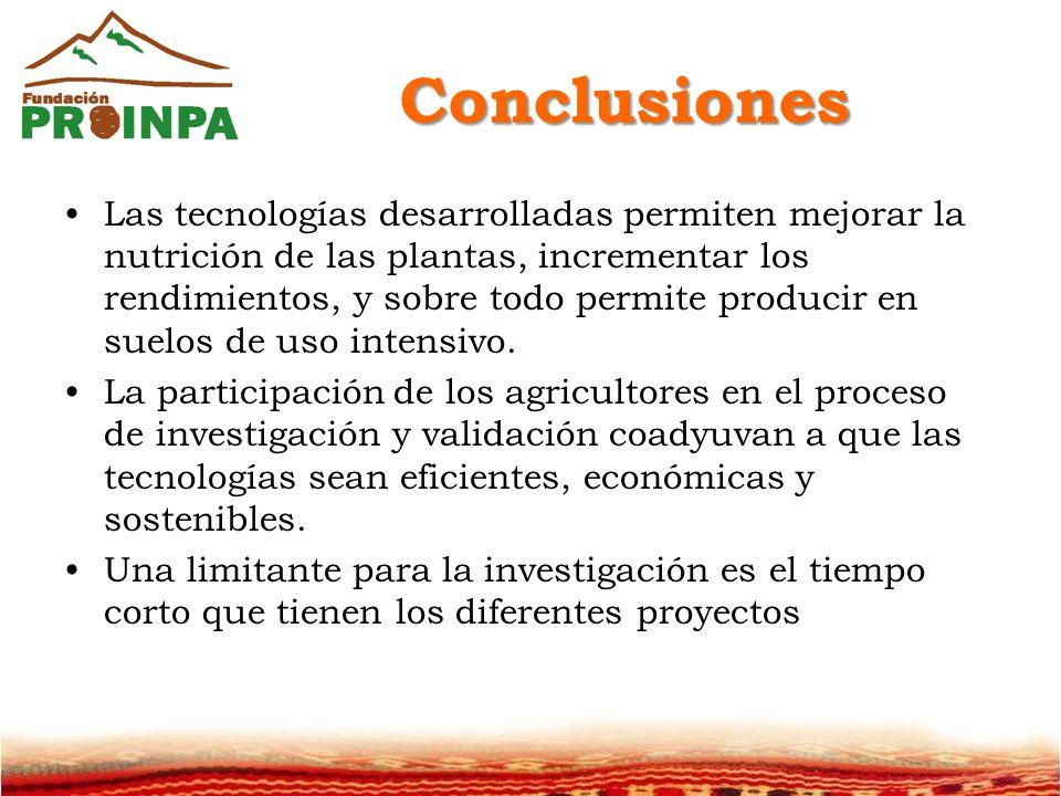 Conclusiones Las tecnologías desarrolladas permiten mejorar la nutrición de las plantas, incrementar los rendimientos, y sobre todo permite producir en suelos de uso intensivo.