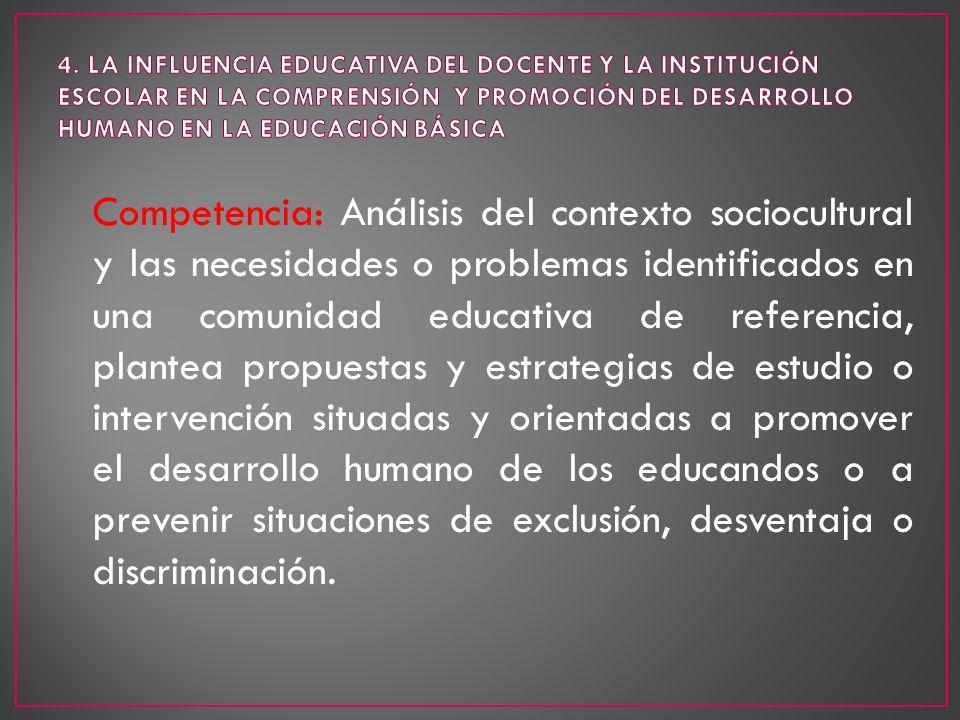 Competencia: Análisis del contexto sociocultural y las necesidades o problemas identificados en una comunidad educativa de referencia, plantea propues