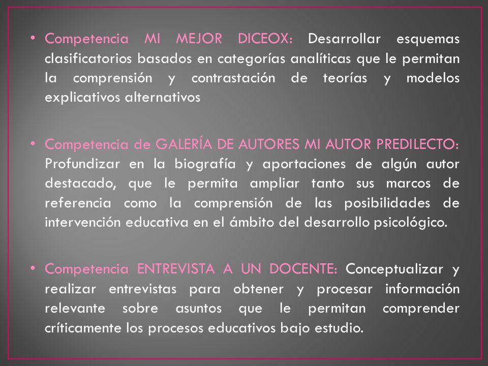 Competencia MI MEJOR DICEOX: Desarrollar esquemas clasificatorios basados en categorías analíticas que le permitan la comprensión y contrastación de t