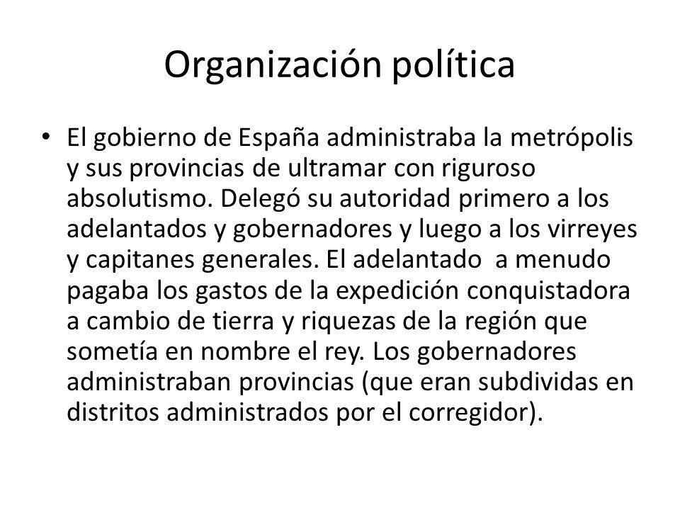 Organización política El gobierno de España administraba la metrópolis y sus provincias de ultramar con riguroso absolutismo. Delegó su autoridad prim
