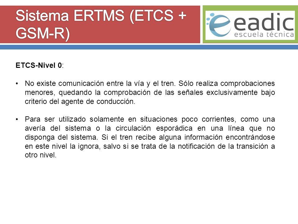 ETCS-Nivel 1: La comunicación entre la vía y el tren se realiza mediante balizas situadas puntualmente a lo largo de la vía.