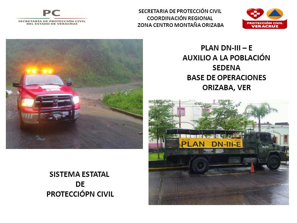 SECRETARIA DE PROTECCIÓN CIVIL COORDINACIÓN REGIONAL ZONA CENTRO MONTAÑA ORIZABA PLAN DN-III – E AUXILIO A LA POBLACIÓN SEDENA BASE DE OPERACIONES ORIZABA, VER SISTEMA ESTATAL DE PROTECCIÓPN CIVIL