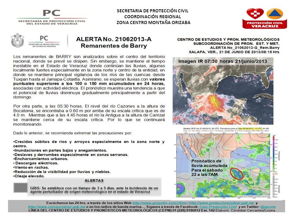 SECRETARIA DE PROTECCIÓN CIVIL COORDINACIÓN REGIONAL ZONA CENTRO MONTAÑA ORIZABA