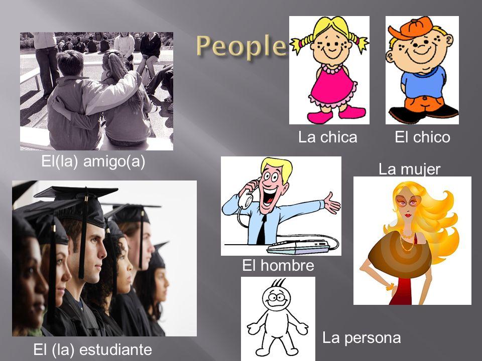 El(la) amigo(a) La chica El hombre El chico La mujer La persona El (la) estudiante