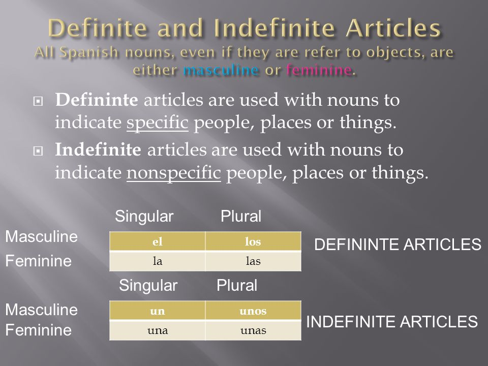 Definite ArticlesIndefinite Articles El chic oUn chic o Los chic osUnos chic os La chic aUna chic a Las chic asUnas chic as Nouns ending in –o are usually masculine.