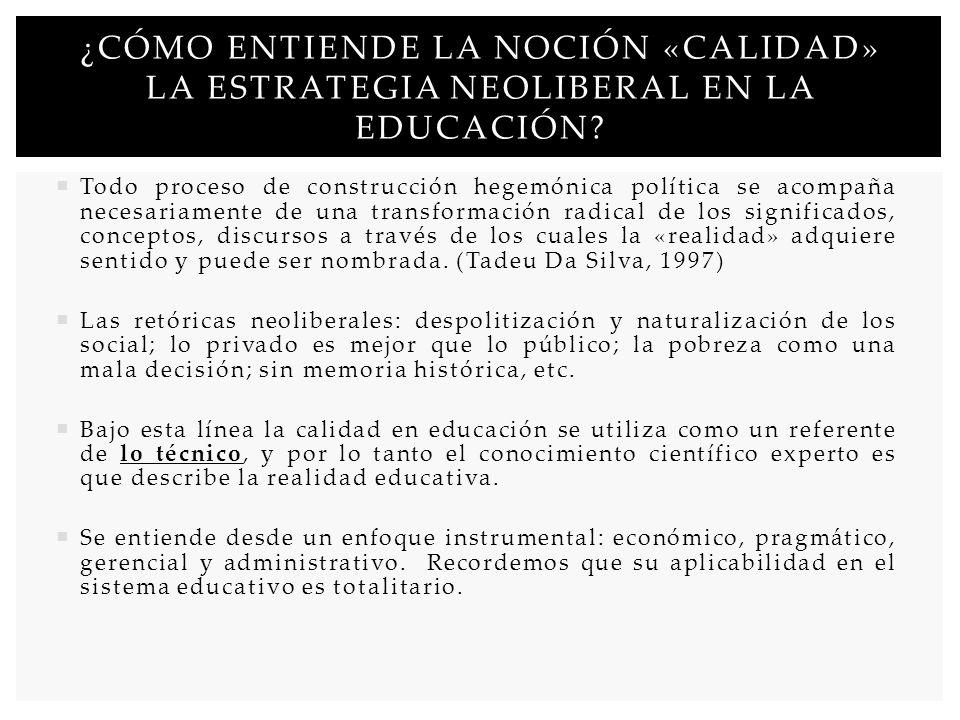 ¿CÓMO ENTIENDE LA NOCIÓN «CALIDAD» LA ESTRATEGIA NEOLIBERAL EN LA EDUCACIÓN? Todo proceso de construcción hegemónica política se acompaña necesariamen