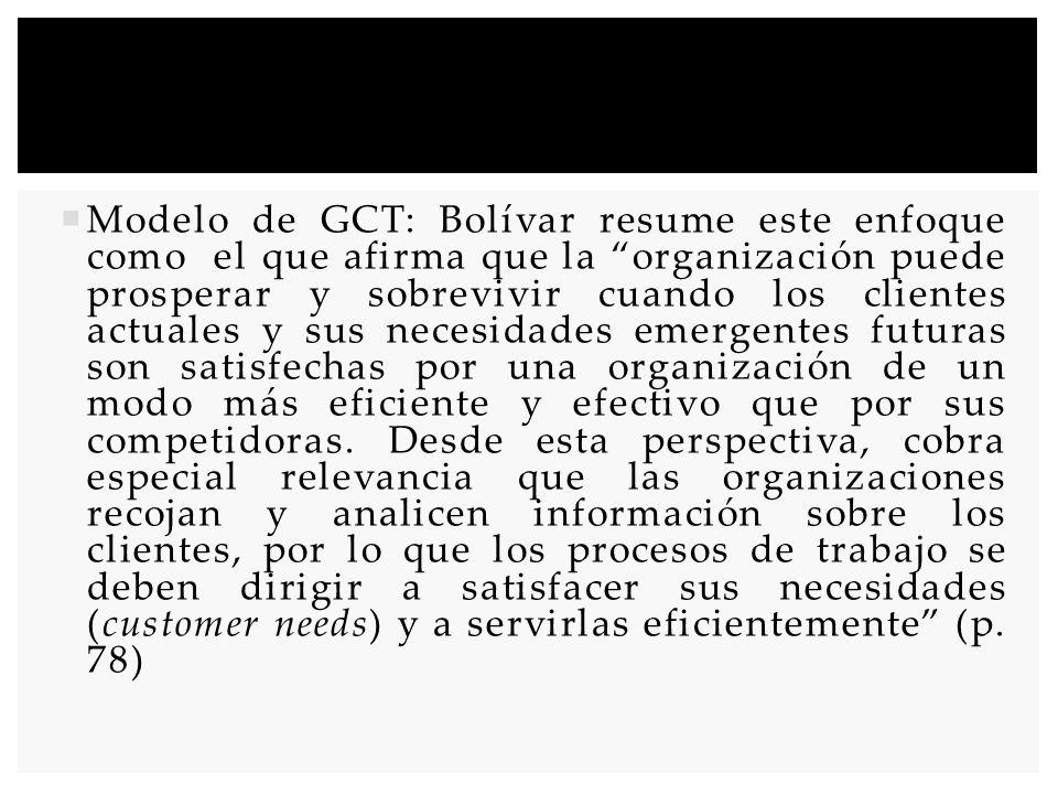 Modelo de GCT: Bolívar resume este enfoque como el que afirma que la organización puede prosperar y sobrevivir cuando los clientes actuales y sus nece