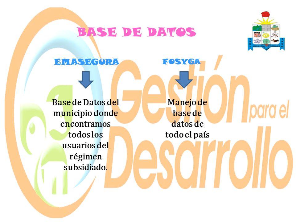 BASE DE DATOS Base de Datos del municipio donde encontramos todos los usuarios del régimen subsidiado. EMASEGURA FOSYGA Manejo de base de datos de tod